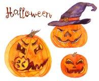 Reeks Halloween pompoenen Stock Fotografie