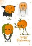 Reeks Halloween-pompoenen, grappige gezichten De herfstvakantie Vector illustratie vector illustratie