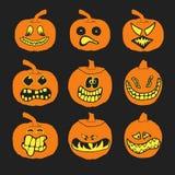 Reeks Halloween-Pompoenen met verschillende uitdrukkingen Royalty-vrije Stock Foto's