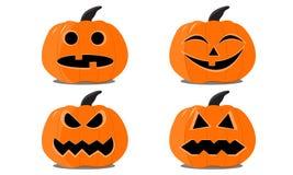 Reeks Halloween-pompoenen op de witte achtergrond stock illustratie