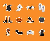 Reeks Halloween-stickerpictogrammen Royalty-vrije Stock Fotografie