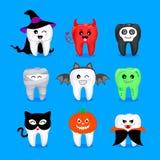 Reeks Halloween-tandkarakters Royalty-vrije Stock Afbeelding