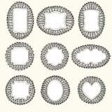 Reeks hand-drawn frames royalty-vrije illustratie