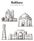 Reeks hand-drawn gebouwen van Boukhara, de illustratie van de de elementenschets van Boukhara royalty-vrije illustratie