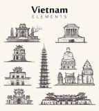 Reeks hand-drawn gebouwen van Vietnam De schetsillustratie van Vietnam stock illustratie