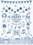 Reeks Hand-drawn Geschetste Pictogrammen van de Kerstmiskrabbel Stock Foto