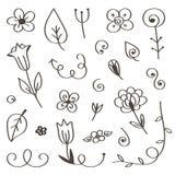 Reeks hand-drawn, krabbelbloemen en bladeren op witte achtergrond worden geïsoleerd die Royalty-vrije Stock Fotografie