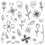 Reeks hand-drawn, krabbelbloemen en bladeren op witte achtergrond worden geïsoleerd die Royalty-vrije Stock Afbeelding