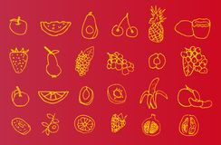 Reeks hand-drawn pictogrammen van fruit Stock Fotografie