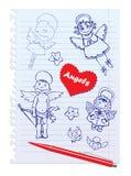Reeks Hand-Drawn Schetsmatige Engelen royalty-vrije illustratie