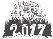 Reeks hand-drawn schetsmatige Kerstmiselementen De illustratie van de krabbelschets Kaarsen, giftdozen, pomanders stock illustratie