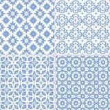 Reeks hand getrokken blauwe Marokkaanse naadloze patronen voor Ramadan Kareem-groetkaarten, Islamitische achtergronden, stof, Web vector illustratie