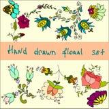 Reeks hand getrokken bloemen, vectorklemkunst met bloemen Royalty-vrije Stock Fotografie