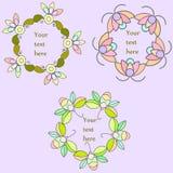 Reeks hand getrokken bloemenkaders, het bloemenart. van de kroon vectorklem stock illustratie