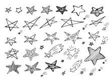 Reeks Hand Getrokken Creatieve Vector Geïsoleerde Sterpictogrammen royalty-vrije illustratie