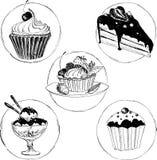 Reeks hand getrokken desserts Royalty-vrije Stock Foto