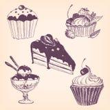Reeks hand getrokken desserts Stock Afbeeldingen