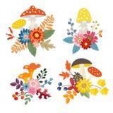 Reeks hand getrokken die boeketten van paddestoelen, kleurrijke bladeren en bloemen wordt gemaakt De herfst, dalings bloemensamen Stock Fotografie