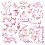 Reeks hand getrokken elementen van de krabbelliefde voor huwelijk, de Dagkaart van Valentine s, sticker, zegelontwerp Vector illu Royalty-vrije Stock Foto's
