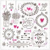 Reeks hand getrokken elementen voor uw ontwerp Decoratieve kaders, F stock illustratie