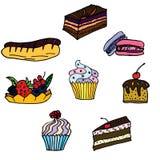 Reeks hand getrokken gebakjes, cupcakes Stock Foto's