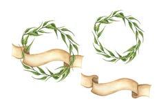 Reeks hand getrokken groene bladerenkronen met lint vector illustratie