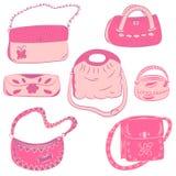 Reeks Hand Getrokken Handtassen Roze Betoverende Manierzakken Royalty-vrije Stock Afbeeldingen