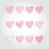 Reeks hand getrokken harten vector illustratie