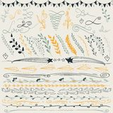 Reeks hand getrokken lijnengrens, takken en elegante ontwerpelementen Illustratie Kan gebruik zijn als decoratie Royalty-vrije Stock Afbeeldingen