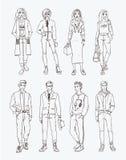 Reeks hand getrokken modieuze jongeren bij straat Inzamelingsmanier, de in jeugd De illustratie van de contour royalty-vrije illustratie