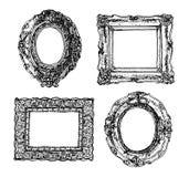 Reeks hand getrokken omlijstingen Vector pictogrammen Stock Afbeeldingen