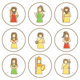Reeks hand getrokken pictogrammen met Griekse goden Stock Foto