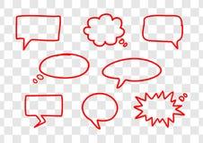 Reeks hand getrokken rode vectortoespraakbellen royalty-vrije illustratie