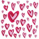 Reeks hand getrokken schetsmatige harten stock illustratie