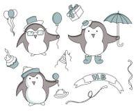 Reeks hand getrokken Verjaardagselementen met pinguïn royalty-vrije illustratie