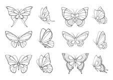Reeks hand getrokken vlinders stock illustratie