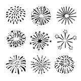 Reeks hand getrokken vuurwerk, zonnestralen zwarte witte voorwerpen, pictogrammen royalty-vrije illustratie
