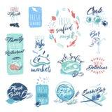 Reeks hand getrokken waterverfkentekens en stickers van zeevruchten Royalty-vrije Stock Afbeeldingen
