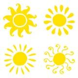 Reeks hand getrokken zonpictogrammen Vector illustratie Royalty-vrije Stock Foto's
