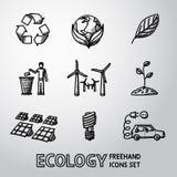 Reeks handdrawn ECOLOGIEpictogrammen - recycleer teken Royalty-vrije Stock Afbeeldingen