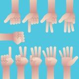Reeks handen die nul tot negen tellen Royalty-vrije Stock Afbeeldingen