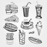 Reeks handrawnfastfood illustraties op witte achtergrond royalty-vrije illustratie