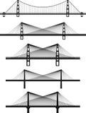Reeks hangbruggen van de metaalkabel Royalty-vrije Stock Fotografie