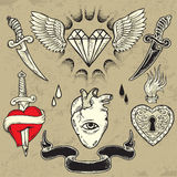 Reeks Hart gestalte gegeven tatoegeringselementen Royalty-vrije Stock Foto