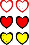 Reeks harten De inzameling van Grungezegels liefdevormen voor uw ontwerp Stock Fotografie