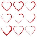 Reeks harten die met grungeborstel wordt gemaakt royalty-vrije illustratie