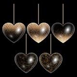 Reeks harten in gouden stijl Royalty-vrije Stock Foto's