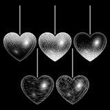 Reeks harten in zilveren stijl Stock Fotografie