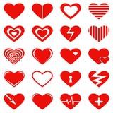 Reeks hartsymbolen, tekens voor de Dag van Valentine en een huwelijk Royalty-vrije Stock Afbeelding