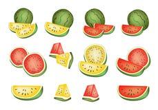 Reeks Heerlijke Verse Rode en Gele Watermeloenen royalty-vrije illustratie